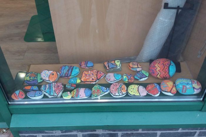 Painted pebbles on display at Morrisons