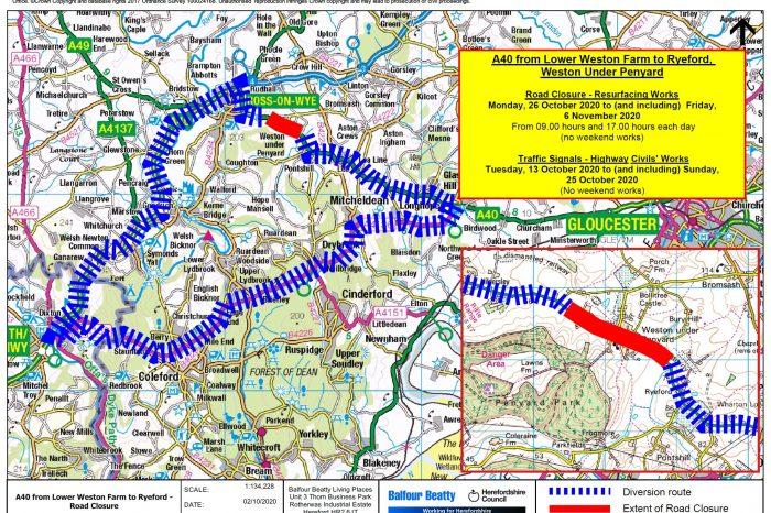 Changes to A40 at Weston Under Penyard