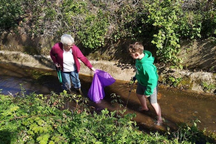 Volunteers spend morning clearing brook of litter